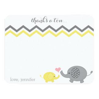 Elephant Baby Shower Thank You Yellow Gray Chevron Card