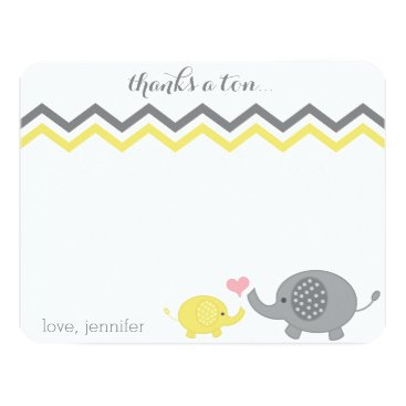 Toddler & Baby themed Elephant Baby Shower Thank You Yellow Gray Chevron Card
