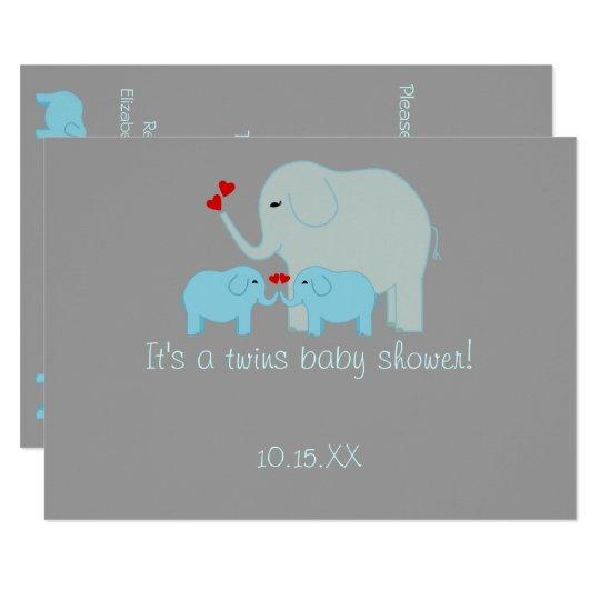 Elephant Baby Shower Twin Boys Card
