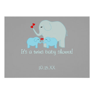 Elephant Baby Shower Twin Boys Invitation