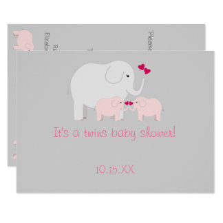 Elephant Baby Shower Twin Girls Card