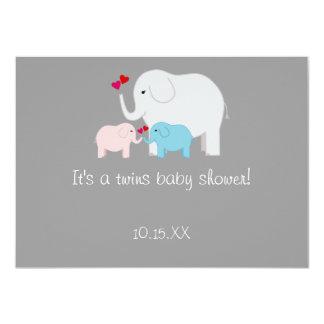 Elephant Baby Shower Twins Boy Girl Card