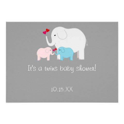Elephant Baby Shower Twins Boy Girl Personalized Invitation
