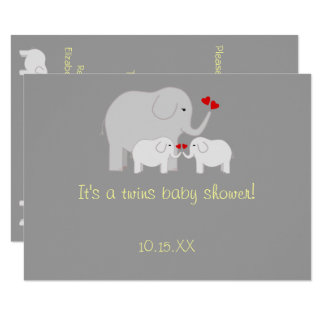 Elephant Baby Shower Twins Gender Neutral Card