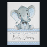 """Elephant Baby Shower Welcome Sign<br><div class=""""desc"""">Elephant baby shower welcome sign with adorable watercolor baby elephant wearing a cute bow tie on a baby blue dot background. This boy baby shower welcome sign is easily customized with your text.</div>"""