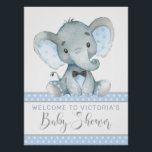"Elephant Baby Shower Welcome Sign<br><div class=""desc"">Elephant baby shower welcome sign with adorable watercolor baby elephant wearing a cute bow tie on a baby blue dot background. This boy baby shower welcome sign is easily customized with your text.</div>"