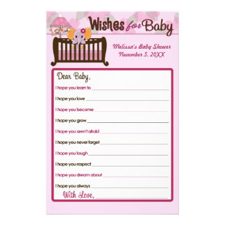 Elephant Baby Shower Wishes for Baby Advice Orchid Flyer