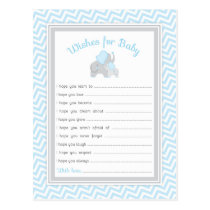 Elephant Baby Shower Wishes for Baby in Blue Gray Postcard