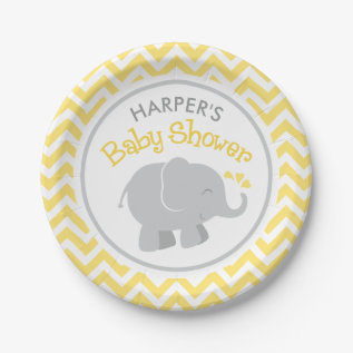 Elephant Baby Shower | Yellow And Gray Paper Plate at Zazzle