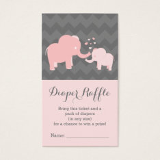 Elephant Baby Showerdiaper Raffle Ticket Pink Grey at Zazzle