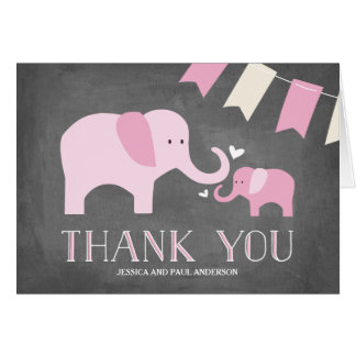 Elephant Baby | Thank You Card | Pink