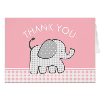 Elephant Baby Thank You Pink Gingham Card