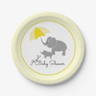 Elephant & Baby, Umbrella Baby Shower Paper Plate