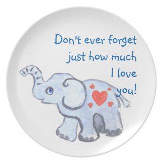 elephant baby with hearts melamine plate