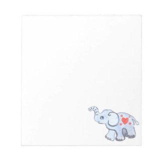 elephant baby with hearts notepad