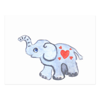elephant baby with hearts postcard
