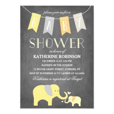 Toddler & Baby themed Elephant Baby Yellow | Baby Shower Invitation