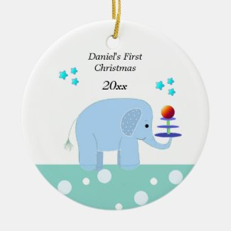 Elephant Baby's First Christmas Ceramic Ornament