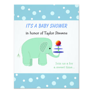 Elephant Balancing Act Baby Shower 4.25x5.5 Paper Invitation Card