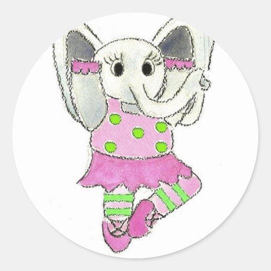 elephant ballerina C[1] Classic Round Sticker