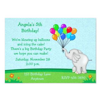 Elephant Balloons Birthday Invitation
