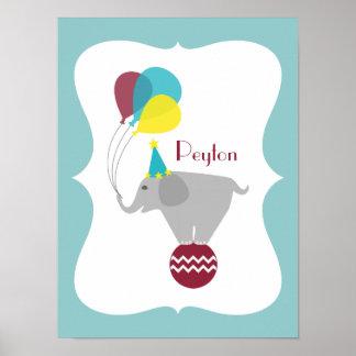 Elephant + Balloons Personalized Nursery Artwork Poster