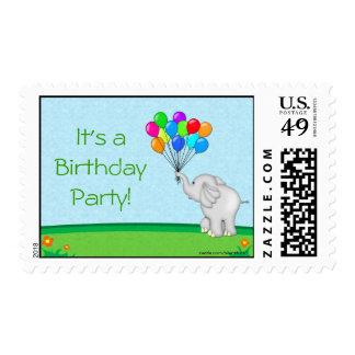 Elephant Balloons Postage Stamp