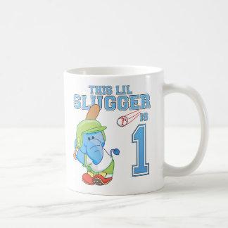 Elephant Baseball 1st Birthday Mugs
