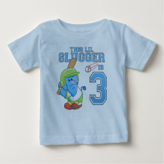 Elephant Baseball 3rd Birthday Baby T-Shirt