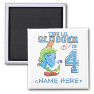 Elephant Baseball 4th Birthday 2 Inch Square Magnet