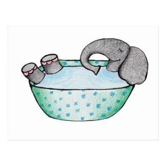 Elephant bath postcard
