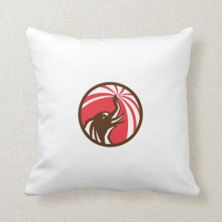 Elephant Bathing Water Circle Retro Throw Pillow
