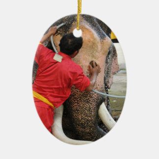 Elephant Bathtime ... Ayutthaya, Thailand Ceramic Ornament