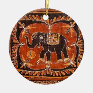 Elephant Batik Ceramic Ornament