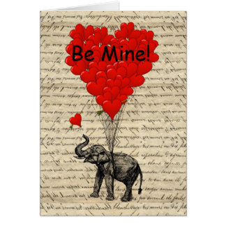 Elephant be mine Valentines Card