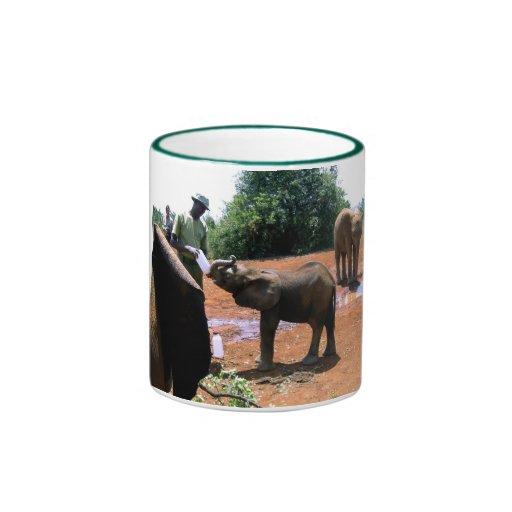 ELEPHANT BEING FED IN KENYA RINGER MUG