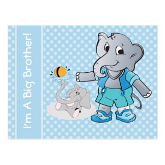 Elephant Big Brother & Little Brother Postcard