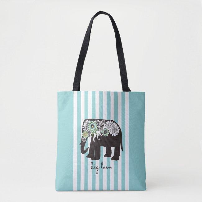 Elephant Big Love Cute Modern Turquoise Stripe