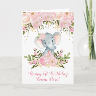 Elephant Birthday Card Pink And Gold Floral