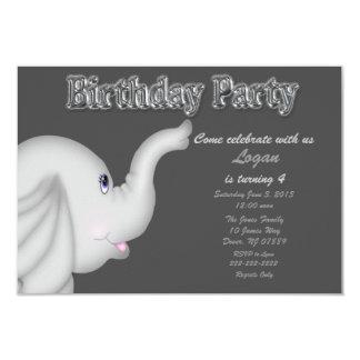 """Elephant Birthday Party Invitation 3.5"""" X 5"""" Invitation Card"""