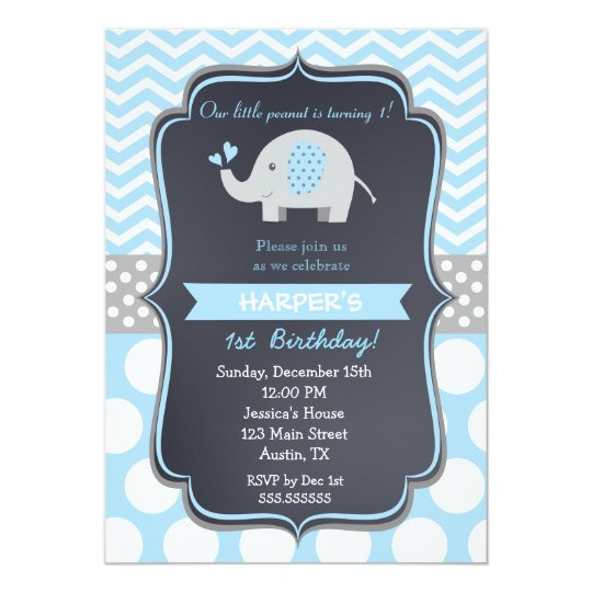 Elephant Birthday Party Invitations Boy