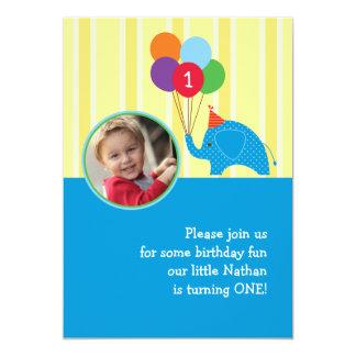 Elephant Birthday Party Photo Invitation