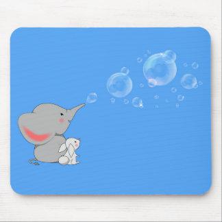 Elephant blowing bobbles mouse pad