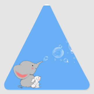 Elephant blowing bobbles triangle sticker