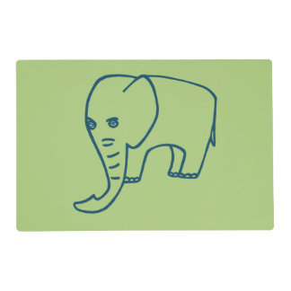 Elephant blue and olive placemat