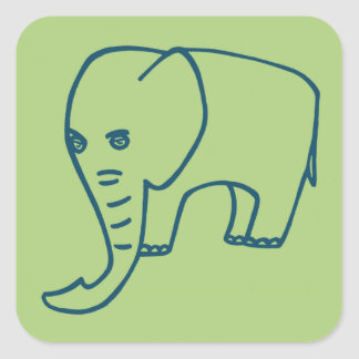Elephant blue and olive square sticker