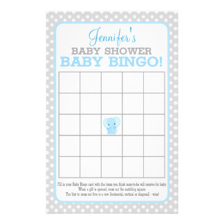 Elephant (blue) Baby Bingo Flyer