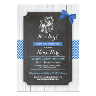 Elephant Blue Baby Shower Party Boy Wood Invite