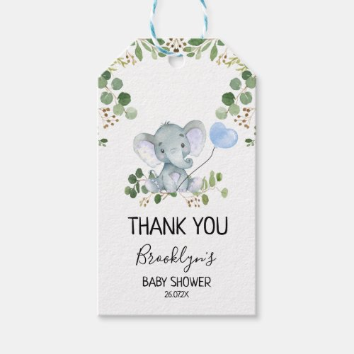 Elephant Blue Balloon Baby Shower Favor Tag