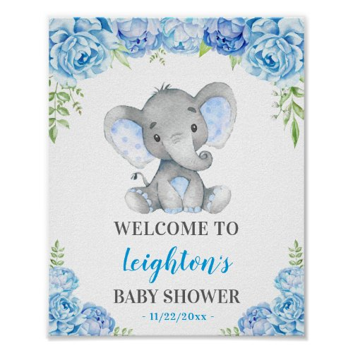 Elephant Blue Boy Baby Shower Sprinkle Welcome Poster